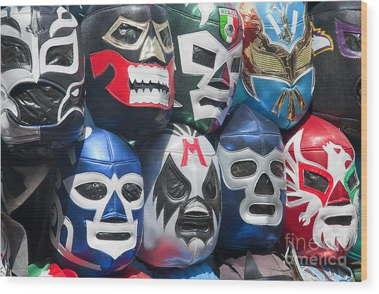 Mexican Head Masks Wood Print