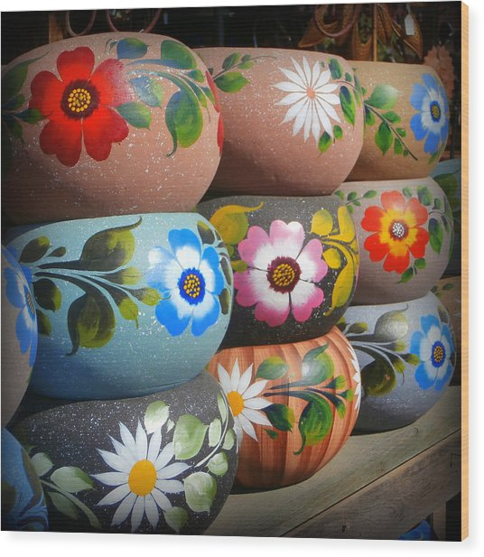 Mexican Pottery In Old Town Wood Print