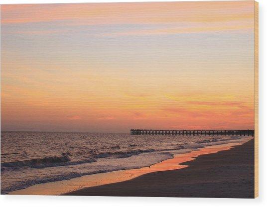 Mexico Beach Pier Wood Print by Saya Studios