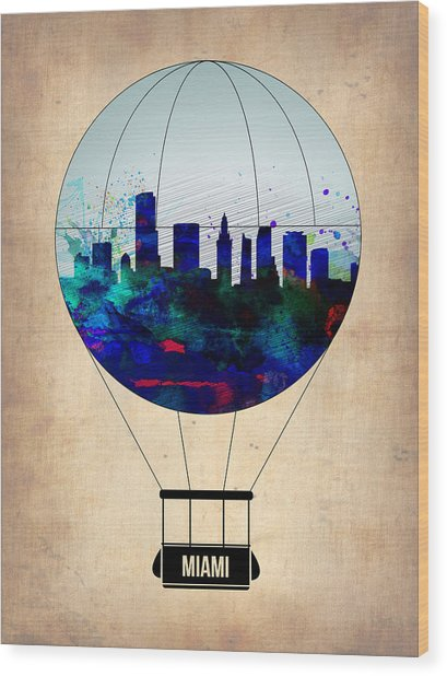Miami Air Balloon Wood Print