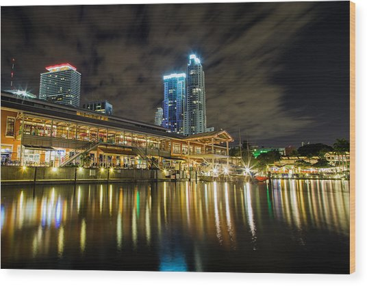 Miami Bayside At Night Wood Print