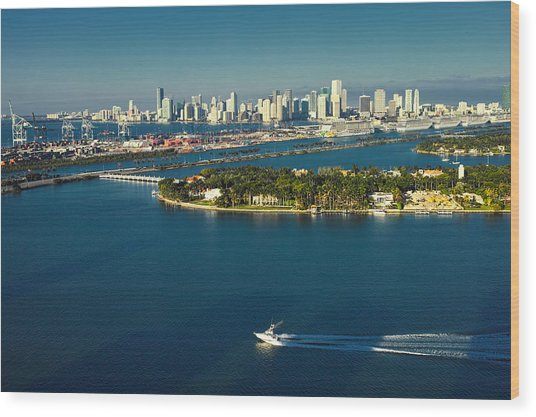 Miami City Biscayne Bay Skyline Wood Print