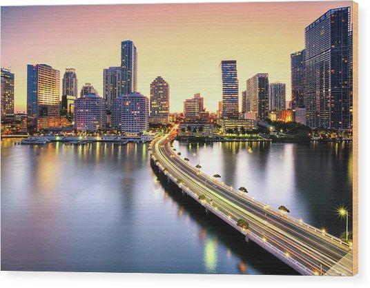 Miami Wood Print by Eddie Lluisma