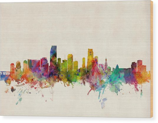 Miami Florida Skyline Wood Print