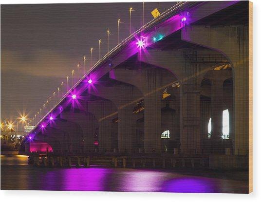 Miami Macarthur Causeway Bridge Wood Print