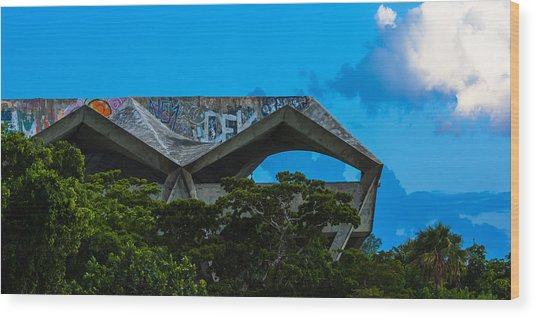 Wood Print featuring the photograph Miami Marine Stadium by Ed Gleichman