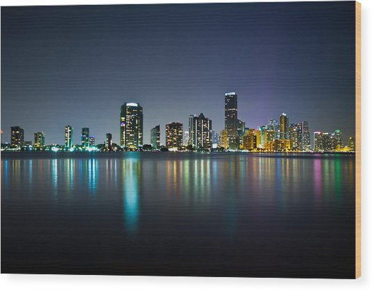 Miami Night Skyline Wood Print