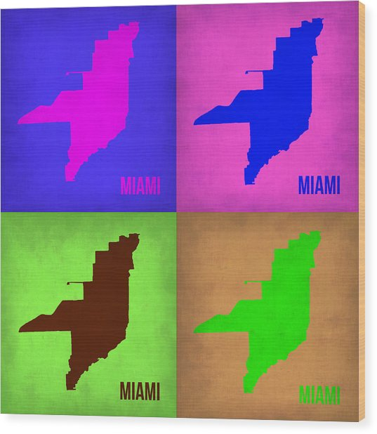 Miami Pop Art Map 1 Wood Print