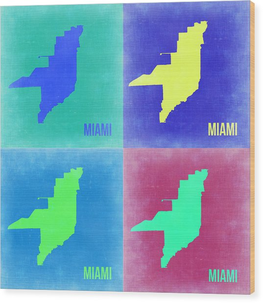 Miami Pop Art Map 2 Wood Print