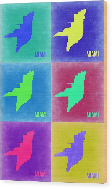 Miami Pop Art Map 3 Wood Print