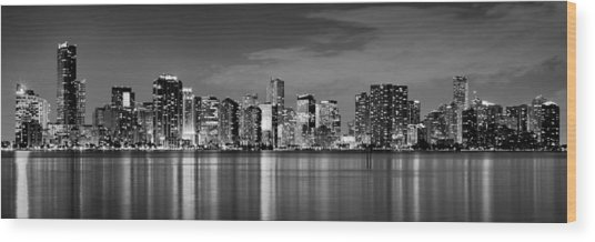 Miami Skyline At Dusk Black And White Bw Panorama Wood Print