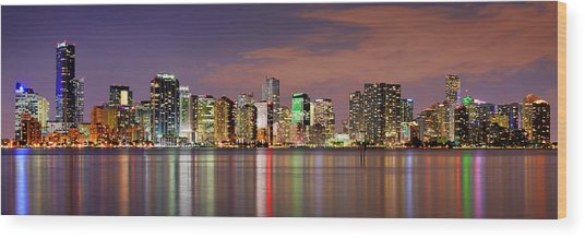 Miami Skyline At Dusk Sunset Panorama Wood Print