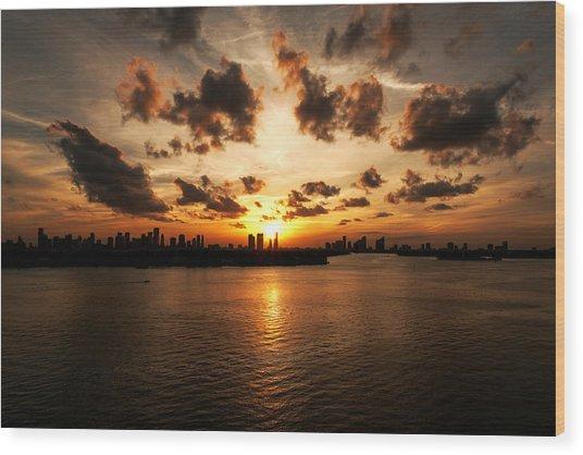 Miami Skyline Sunset Wood Print