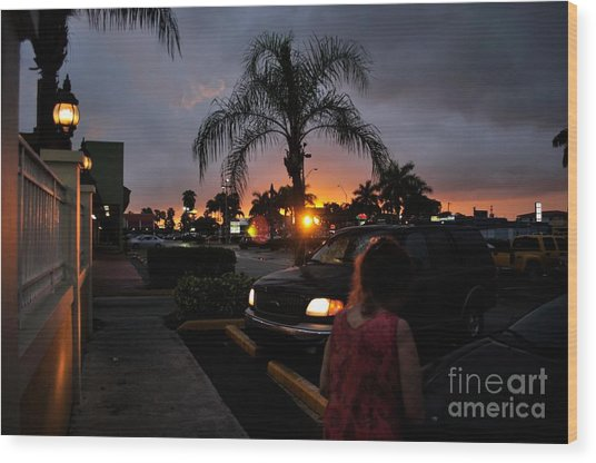 Miami Strip Mall Sunset Wood Print by Andres LaBrada