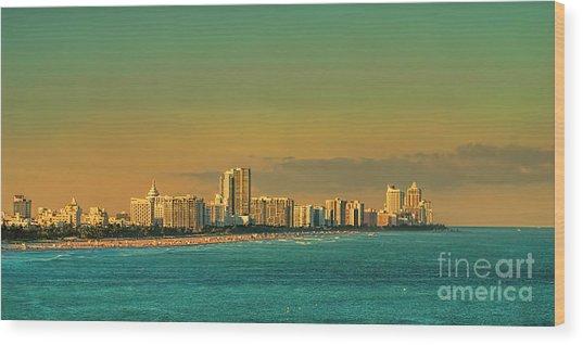 Miami Sunset Wood Print
