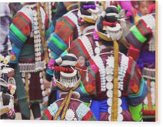 Miao Girls Dancing At Festival Wood Print