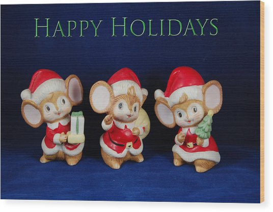 Mice Holiday Wood Print