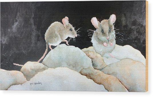 Mice On The Rocks Wood Print