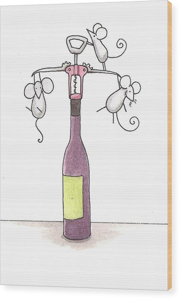 Mice With Wine Wood Print by Christy Beckwith