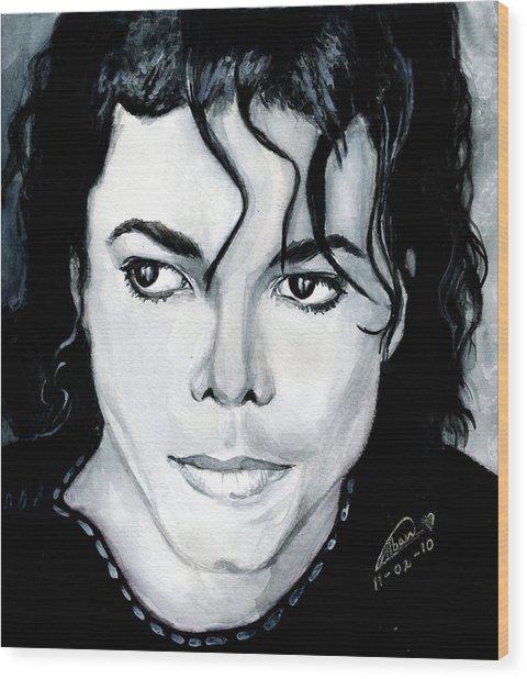Michael Jackson Portrait Wood Print