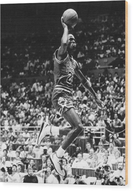 Michael Jordan Gliding Wood Print