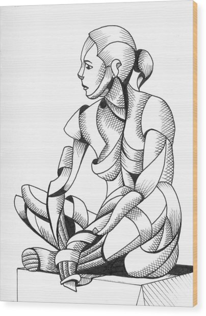 Michaela 24-3 - Abstract Nude Figurative Pen And Ink Drawing Wood Print by Mark Webster