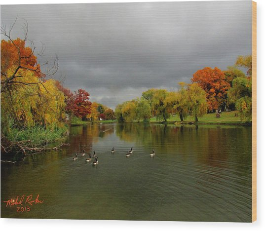 Michigan Autumn Wood Print
