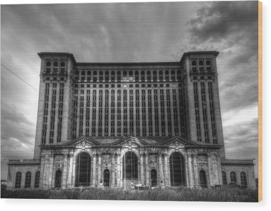 Michigan Central Station Bw Wood Print