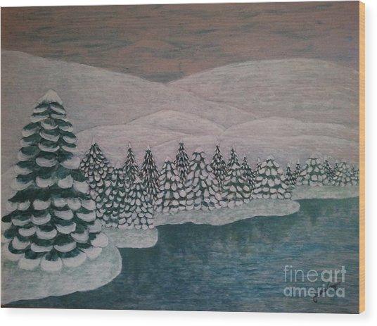 Michigan Winter Wood Print