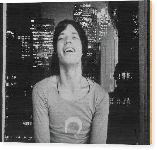 Mick Jagger Laughing Wood Print