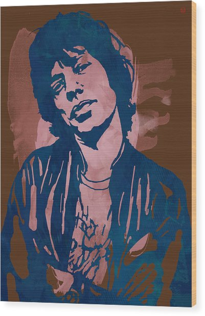 Mick Jagger - Pop Stylised Art Sketch Poster Wood Print