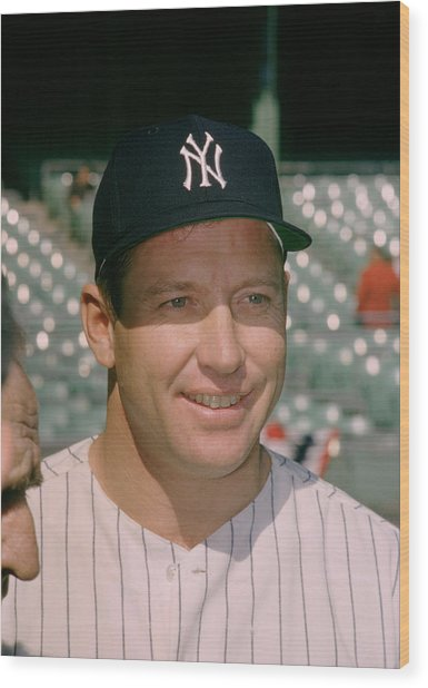 Mickey Mantle Famous Smile Wood Print