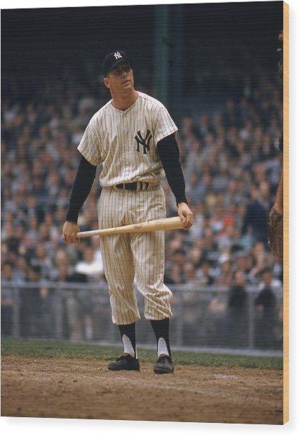Mickey Mantle In Yankee Stadium Wood Print