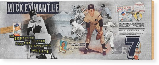 Mickey Mantle Panoramic Wood Print by Retro Images Archive