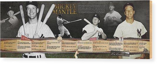 Mickey Mantle Timeline Panoramic Wood Print
