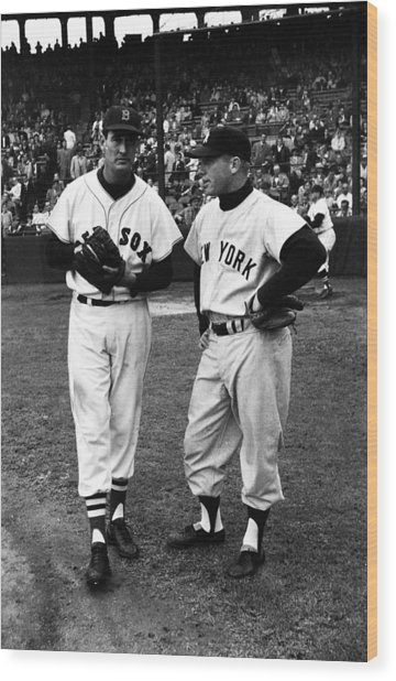 Mickey Mantle With Ted Williams Wood Print