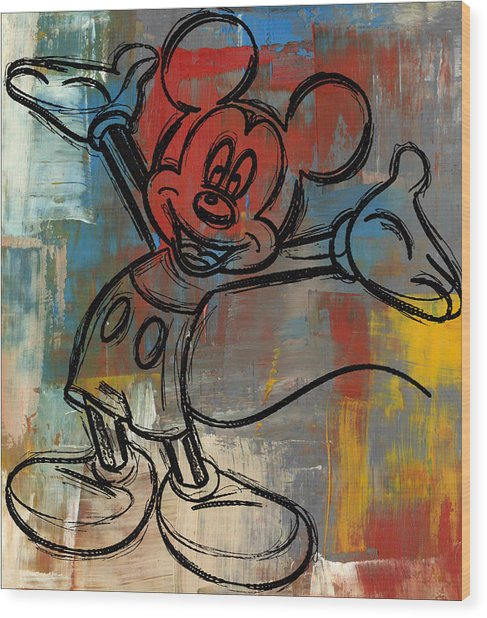 Mickey Mouse Sketchy Hello Wood Print