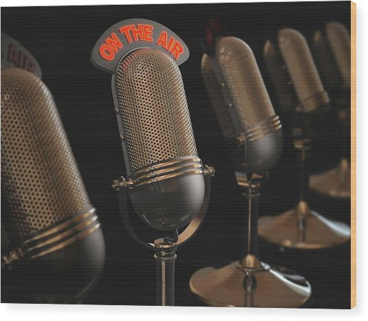 Microphones Wood Print by Ktsdesign/science Photo Library