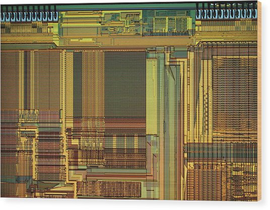 Microprocessor Components Wood Print by Antonio Romero