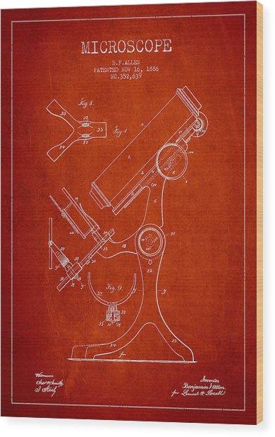 Microscope Patent Drawing From 1886 - Red Wood Print by Aged Pixel