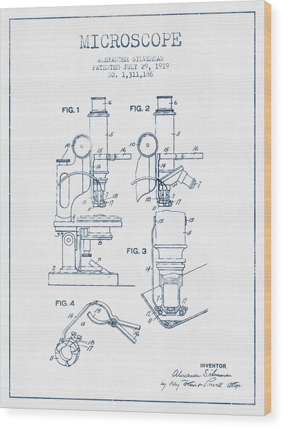 Microscope Patent Drawing From 1919 - Blue Ink Wood Print by Aged Pixel