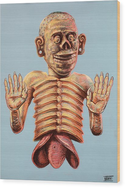 Mictlantecuhtli The Aztec God Of The Dead Wood Print