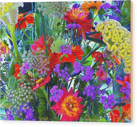 Mid August Bouquet Wood Print