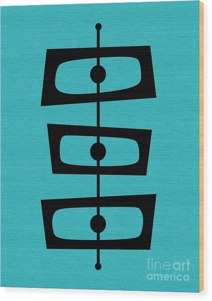Mid Century Shapes On Turquoise Wood Print