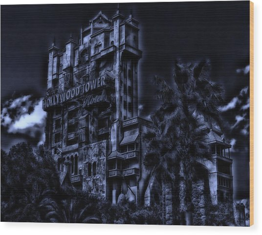 Midnight At The Tower Of Terror Wood Print