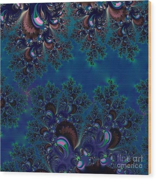 Midnight Blue Frost Crystals Fractal Wood Print