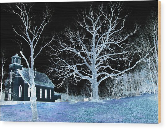 Midnight Country Church Wood Print