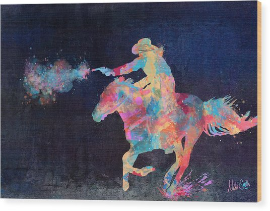 Wood Print featuring the digital art Midnight Cowgirls Ride Heaven Help The Fool Who Did Her Wrong by Nikki Marie Smith