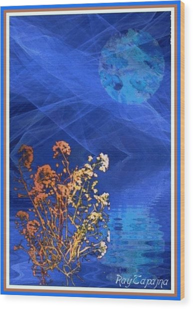 Midnight Flowers Wood Print by Ray Tapajna