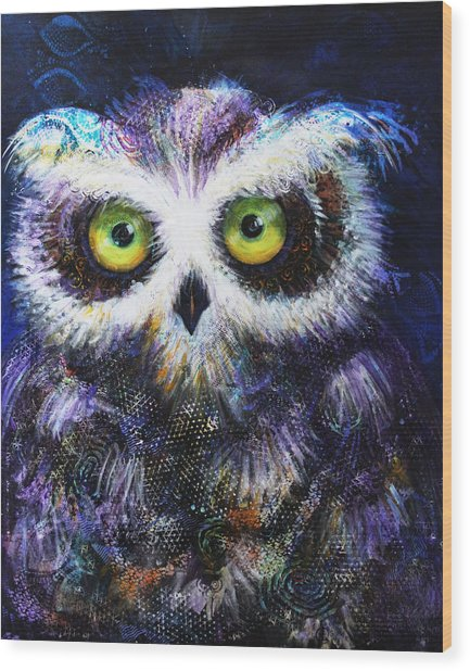 Midnight Hoot Wood Print